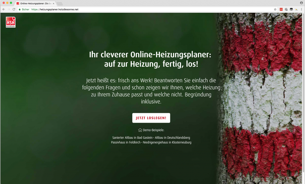 Screenshot Heizungsplaner Homepage